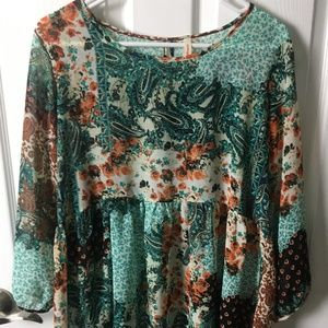 Long sleeves sheer blouse Size L